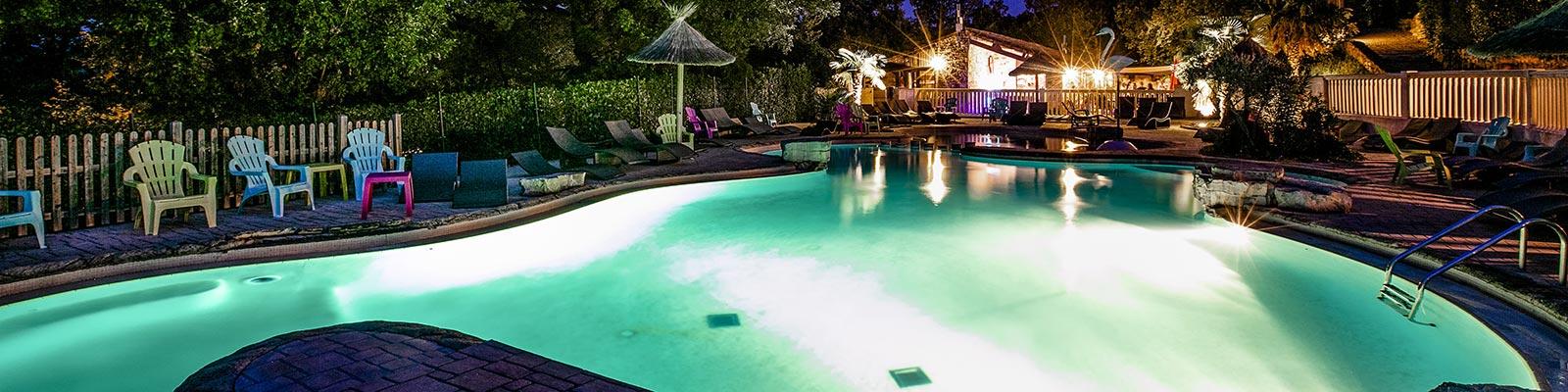 piscine la nuit camping ardeche